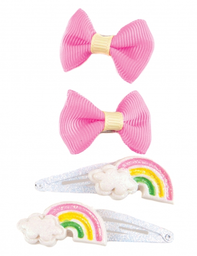 4 Barrettes nœuds roses et arc-en-ciel fille