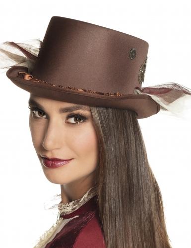 Chapeau haut de forme marron avec voiles Steampunk adulte