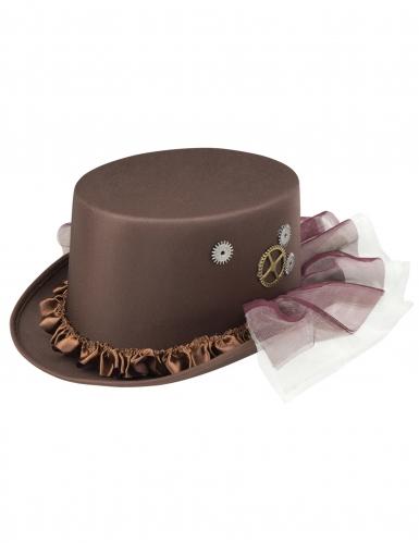 Chapeau haut de forme marron avec voiles Steampunk adulte-1
