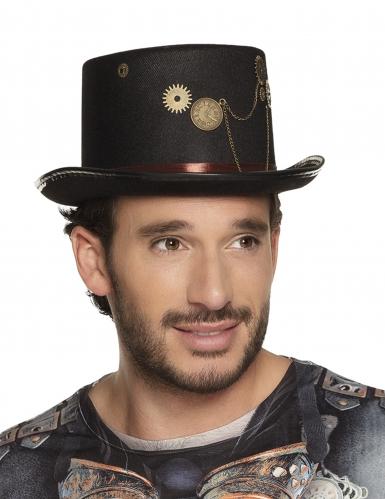 Chapeau haut de forme noir steampunk avec rouages adulte