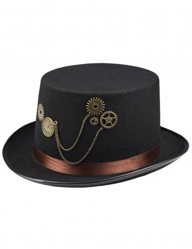 Chapeau haut de forme noir steampunk avec rouages adulte-1