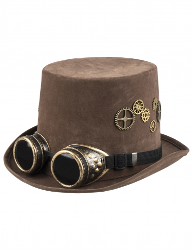 Chapeau haut de forme marron rouages lunettes Steampunk adulte-1