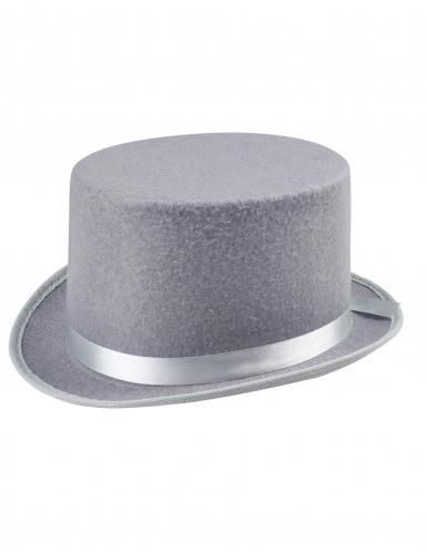 Chapeau haut de forme gris adulte-1