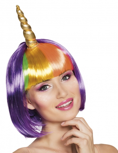 Perruque courte licorne violette femme