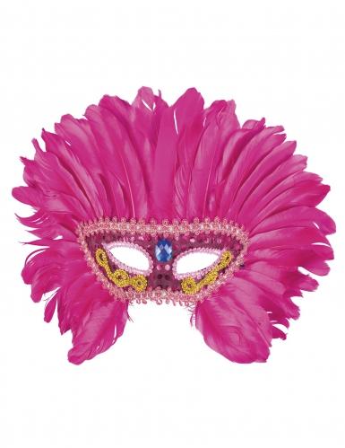 Loup vénitien avec plumes roses femme-1