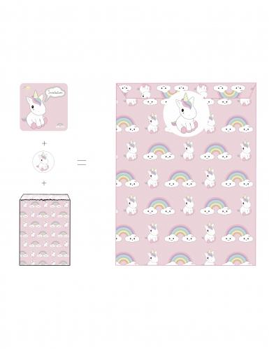 8 Invitations enveloppes et stickers Bébé Licorne 12 x 12 cm