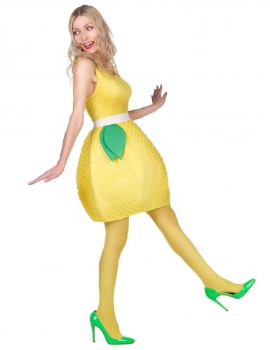 Déguisement robe citron jaune femme-1