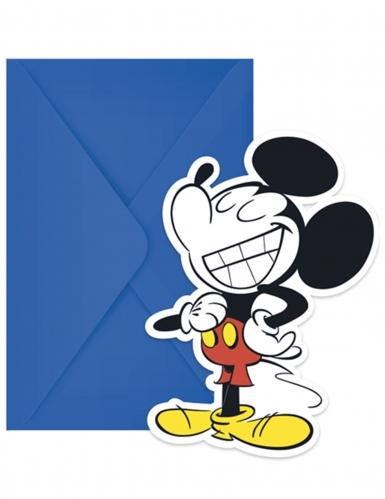 6 Cartes d'invitation et enveloppes Mickey™ rétro