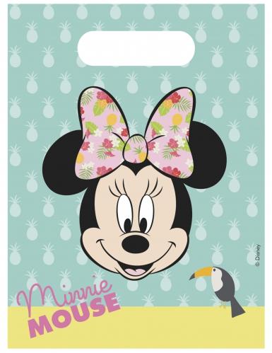 6 Sacs cadeaux Minnie™ Tropical 23 x 16,5 cm