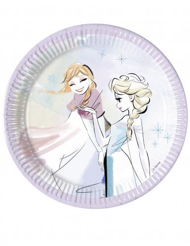 8 Assiettes en carton La reine des neiges™ 20 cm