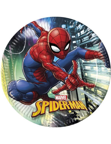 8 Assiettes en carton Spiderman™ 23 cm