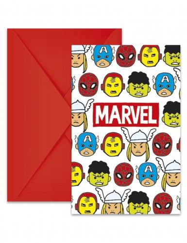 6 Cartons d'invitation + enveloppes Avengers™ pop comic 14 x 9 cm