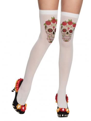 Bas blancs avec squelette mexicain adulte Dia de los muertos