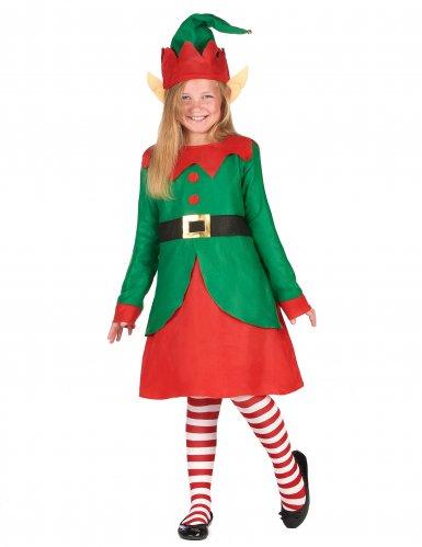 Déguisement robe elfe de Noël fille
