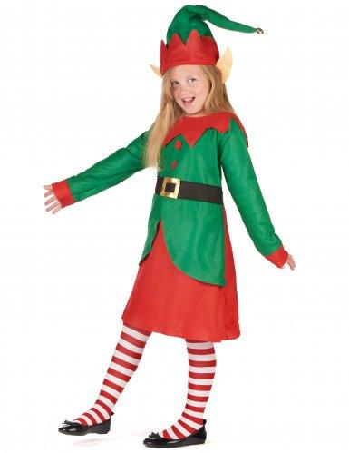 Déguisement robe elfe de Noël fille-1