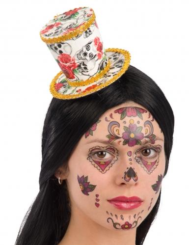 Mini chapeau haut de forme Dia de los muertos femme