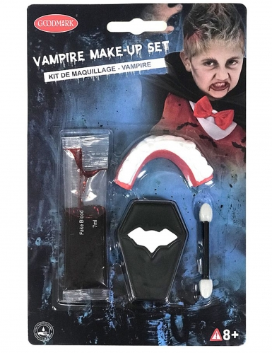 Mini kit maquillage vampire dentier et faux sang