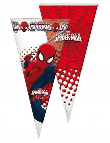 10 Grands sacs en forme de cône Spiderman™ 30 x 60 cm