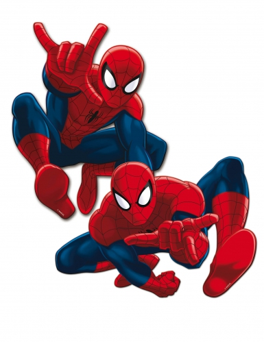 2 Décorations murales en carton Spiderman™ 30 cm