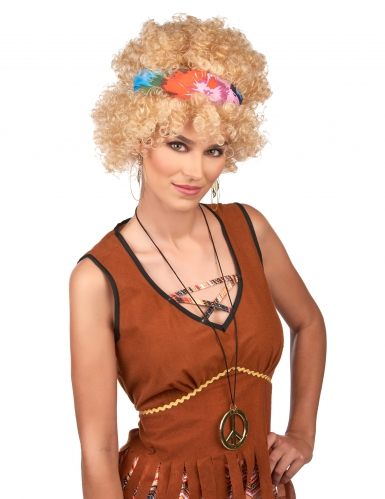 Perruque afro hippie blonde adulte-1