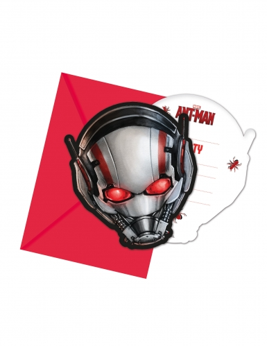 6 Cartons d'invitations + enveloppes Ant-Man™ 14 x 9 cm
