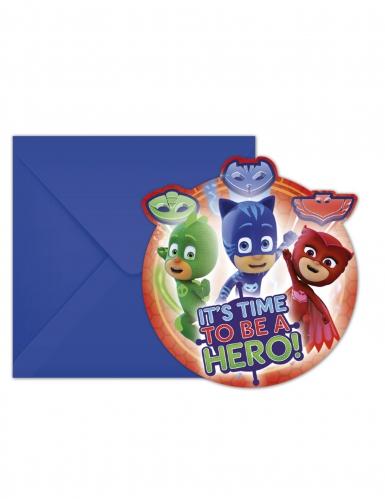 6 Cartons d'invitations et enveloppes Pyjamasques™ 14 x 9 cm