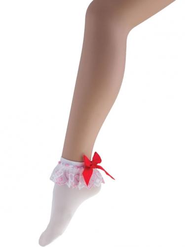 Socquettes blanches avec noeud rouge femme