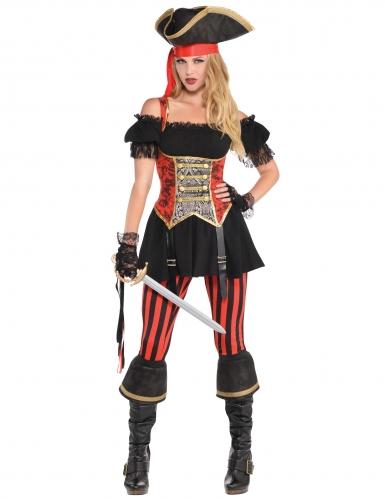 et pirate rouge femme Déguisement noir ZOPuXki