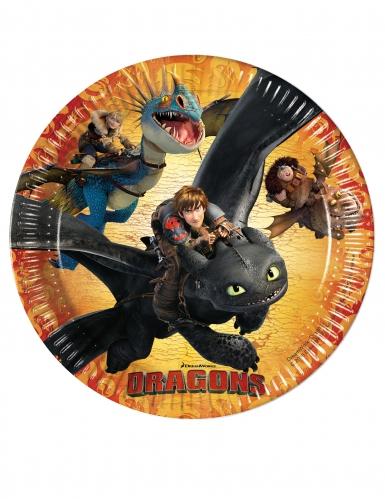 8 Assiettes en carton Dragons™ 23 cm