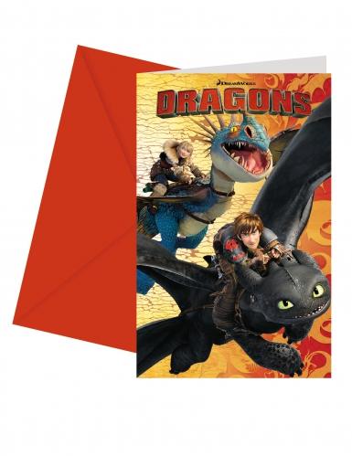 6 Cartons d'invitations avec enveloppes Dragons™ 14 x 9 cm