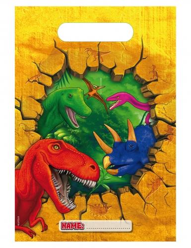6 Sacs de fête en plastique Dinosaures 17 x 25 cm