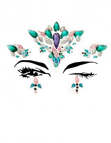 Bijoux pour visage adhésifs reine multicolore adulte