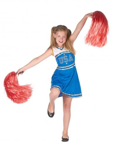 Déguisement pompom girl bleue fille