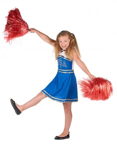 Déguisement pompom girl bleue fille-1