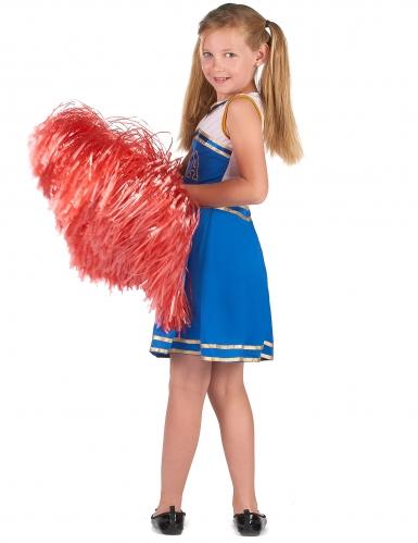 Déguisement pompom girl bleue fille-2
