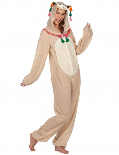Déguisement combinaison à capuche lama femme-1