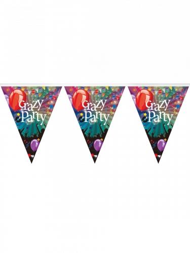 Guirlande fanions en plastique Crazy Party 3,6 m