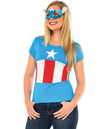 T shirt et masque american dream captain america femme deguise toi achat de d guisements adultes - Masque de captain america ...
