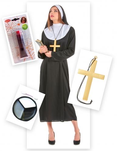 Pack déguisement nonne zombie femme-1