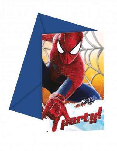 6 Cartons d'invitations The Amazing Spiderman™ 12 x 12,5 cm