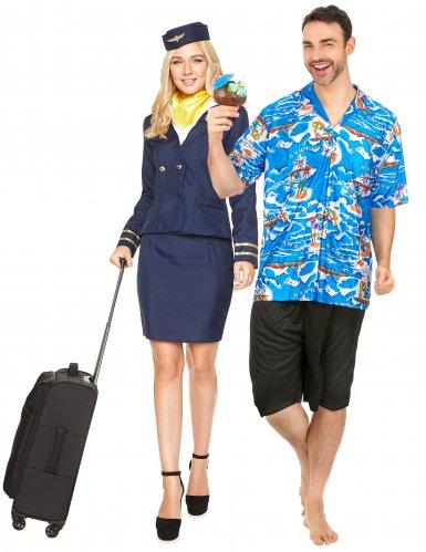 Déguisement de couple hôtesse de l'air et touriste
