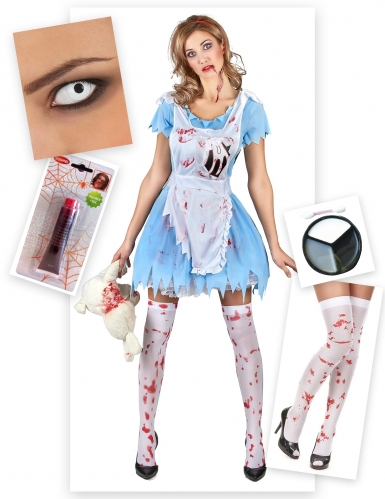 Pack déguisement Alice zombie femme Halloween