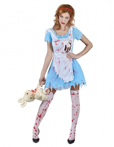 Pack déguisement Alice zombie femme Halloween-1