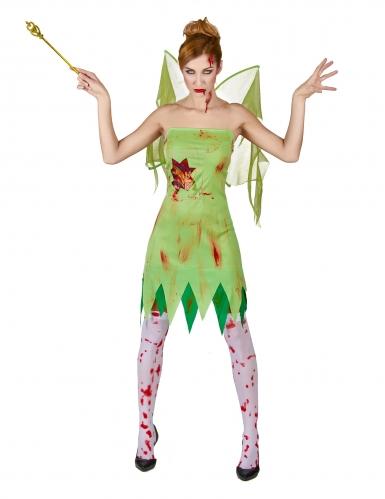 Pack déguisement fée verte ensanglantée femme Halloween-1