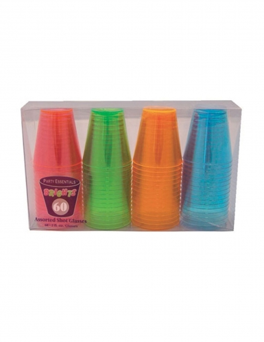 60 Verres à shot en plastique neon multicolores 59 ml