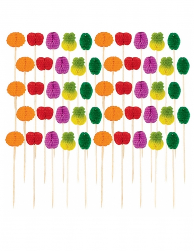 50 Piques en papier alvéolés fruits multicolores 10 cm-1