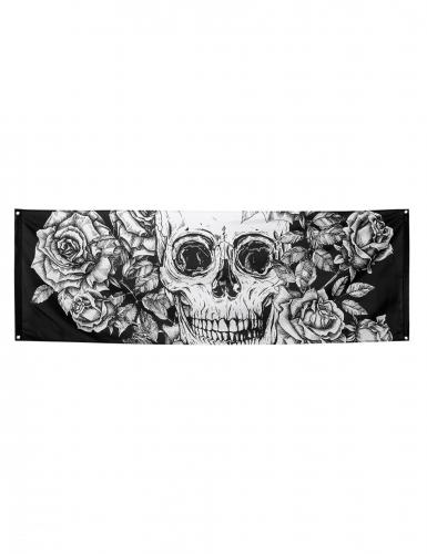 Décoration murale squelette fleuri en polyester 74 x 220 cm