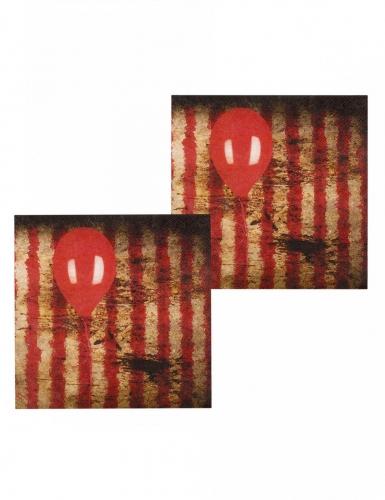 12 Serviettes en papier Clown terrifiant 33 x 33 cm