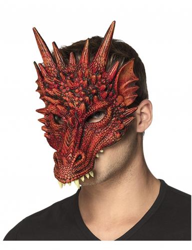 Demi masque en mousse dragon rouge adulte