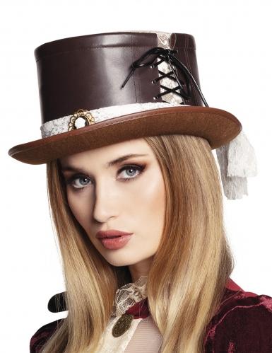 Chapeau luxe marron et dentelle femme Steampunk